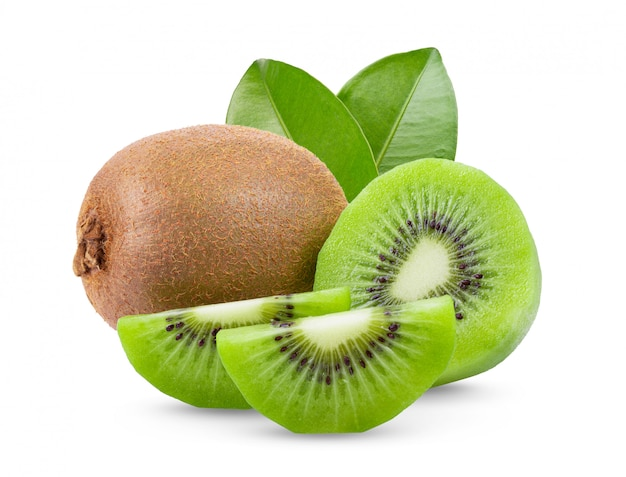 Ripe whole kiwi with leaves on white wall.