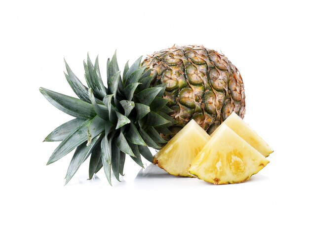 Ripe whole pineapple isolated on white