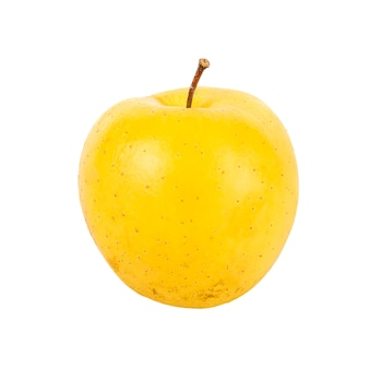 Ripe yellow apple fruit on white background.