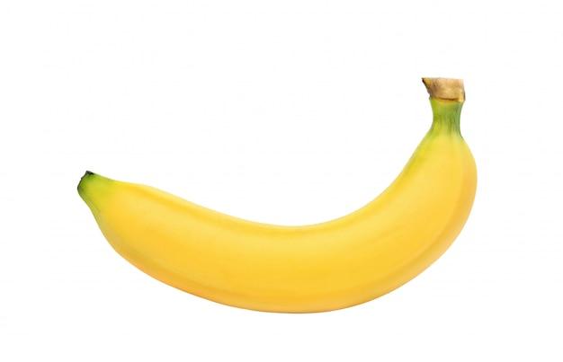 Зрелый желтый банан изолированный на белой предпосылке. отсечения путь
