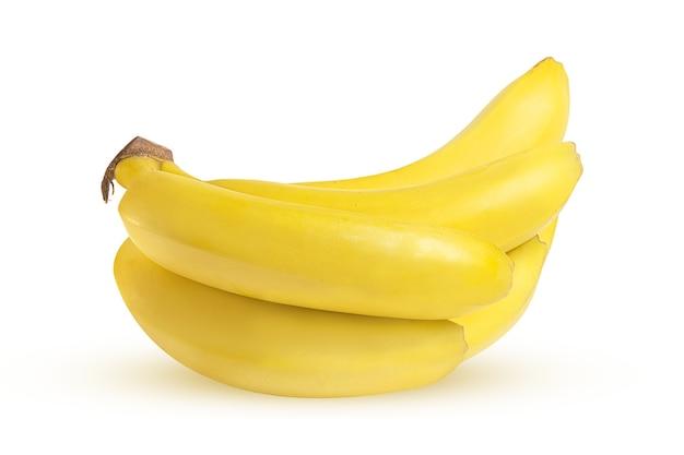 白い背景の上の熟した黄色のバナナ