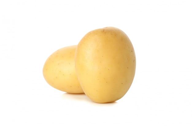 흰색 표면에 고립 익은 젊은 감자