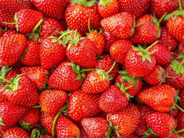 Riped strawberry fruits background