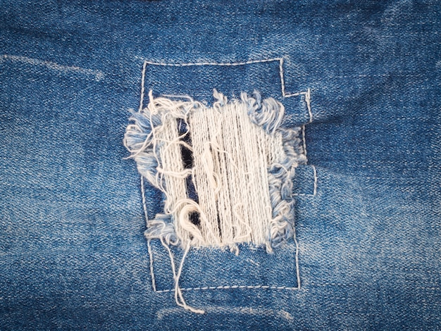 Ripped blue jeans texture background, fashion concept