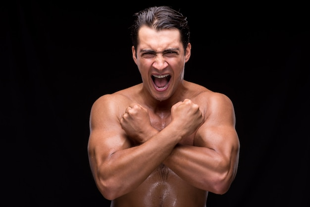 Ripped muscular handsome man