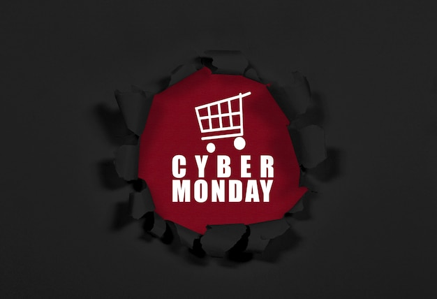 A ripped paper showing cyber monday text