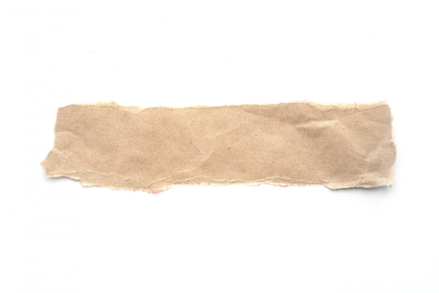Ripped vintage paper background. torn brown paper on white.