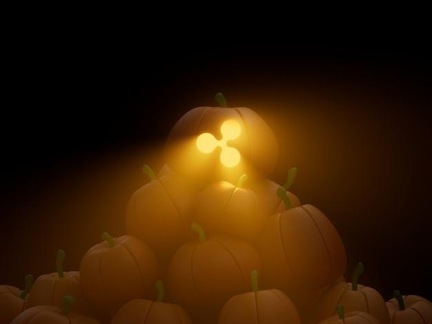리플 조각된 호박 스택 더미 암호화 통화 3d 그림 렌더링 어두운 조명