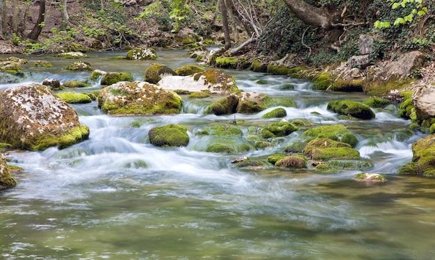 Ripples and cascades on spring mountain river (kokkozka river, great crimean canyon, ukraine). long term exposure.