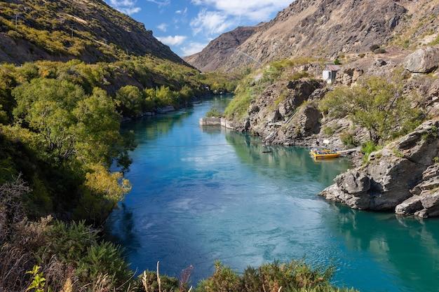 ニュージーランド、セントラルオタゴ、リッポンベール-2月17日:2012年2月17日、ニュージーランドのカワラウ川沿いのリッポンベールの古い金採掘地域