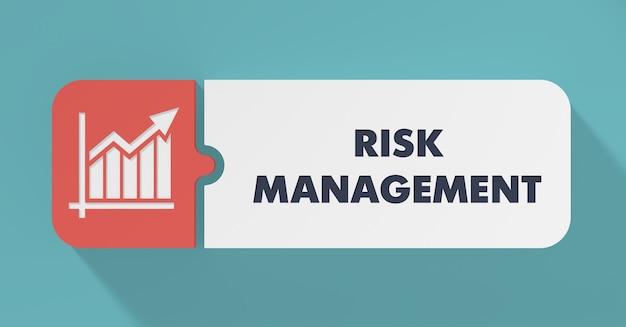 長い影のあるフラットデザインにおけるリスク管理の概念。