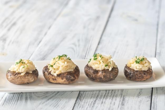 Risotto stuffed mushrooms
