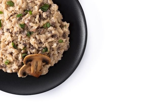 Risotto with mushroom isolated