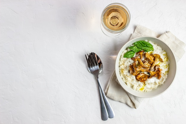 Risotto with mushrooms. italian cuisine. proper nutrition. vegetarian food.