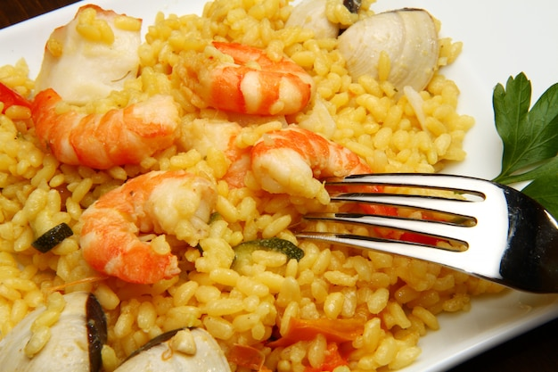 Risotto with seafood and shrimps