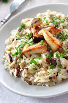 Risotto with white mushrooms