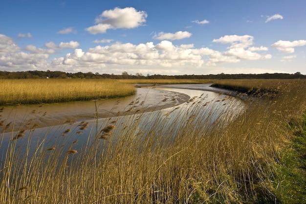 英国の日光と青い空の下の野原に囲まれたアルド川