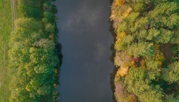 Река и осенний лес с высоты птичьего полета