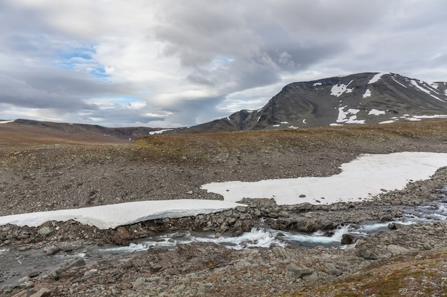 River in the arctic mountains of a sarek national park.