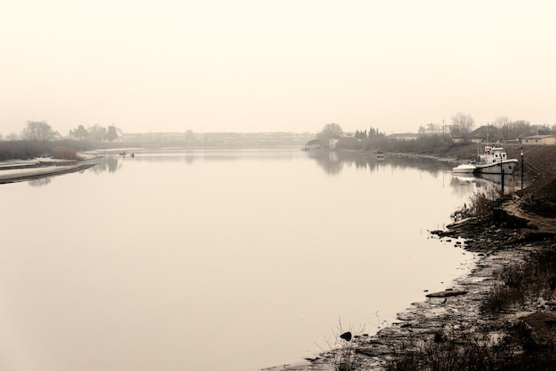 River bed on a foggy day