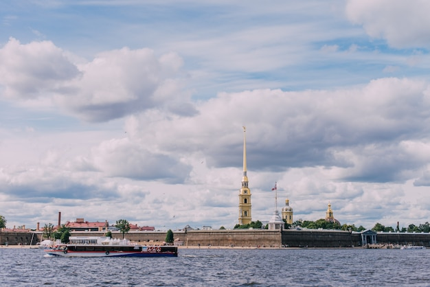 River boats on the neva river, peter and paul fortress