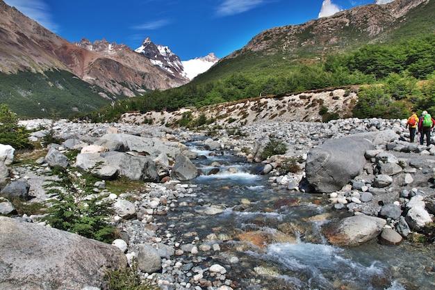 The river close fitz roy, el chalten, patagonia, argentina