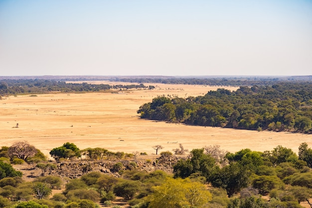River crossing the desert landscape of mapungubwe national park, south africa
