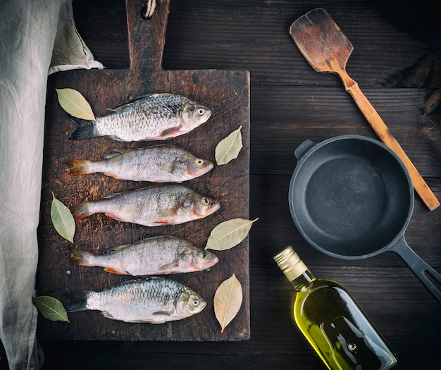 River fish on brown wooden board