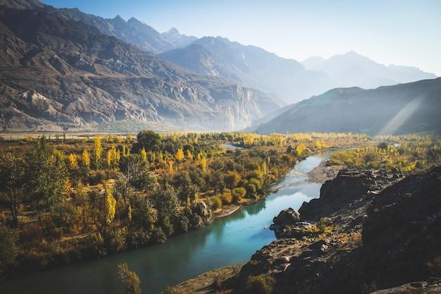 River flow through gakuch in autumn.