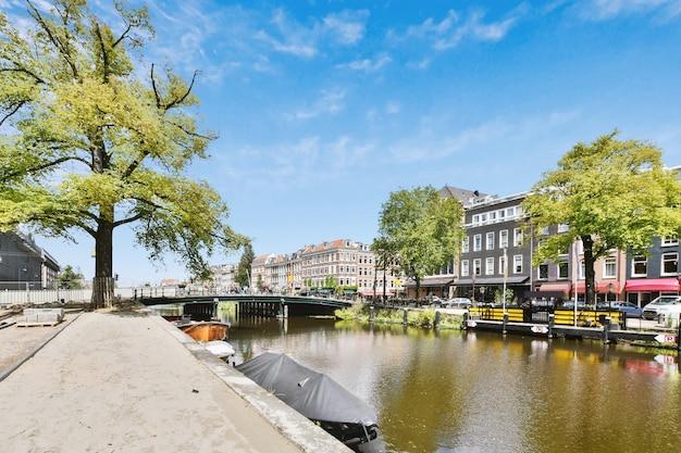 마을에서 여름에 흐린 푸른 하늘을 배경으로 푸른 나무와 아파트 건물 근처 다리 아래 채널에서 흐르는 강