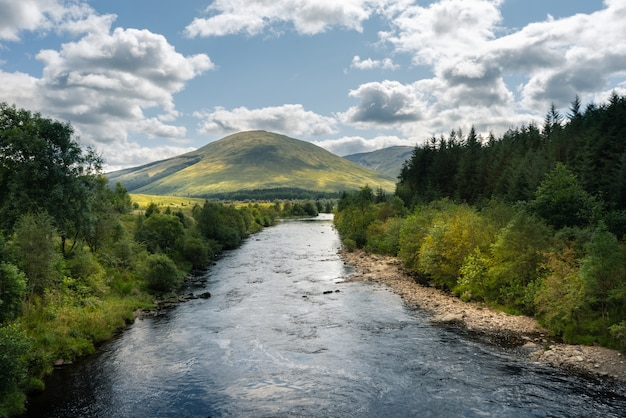 River flowing through the trees and mountains in scotland