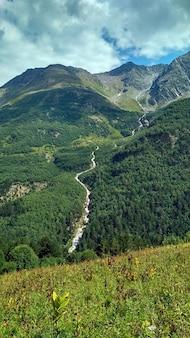 Река течет из зеленой горы