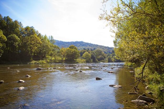 The river flows through mountains carpathians