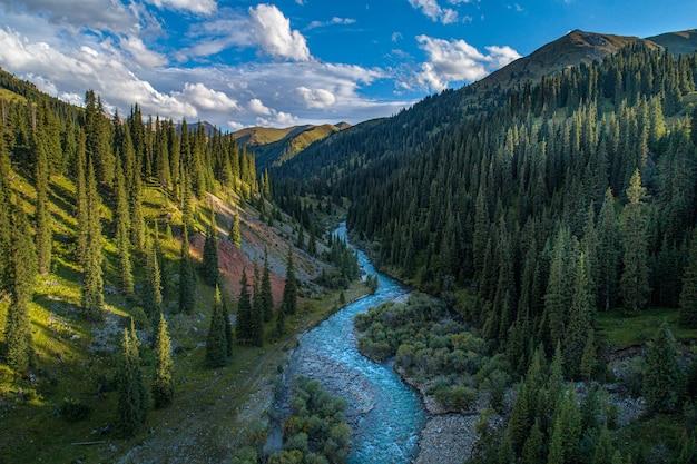 山の峡谷の川、航空写真