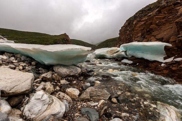 Река в горах с толстым льдом по краям