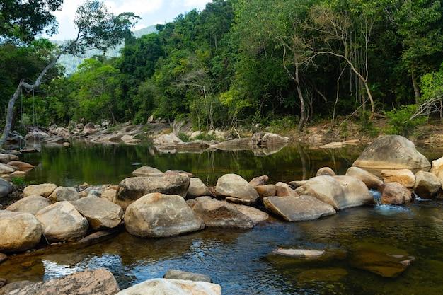 베트남 바호 폭포 절벽의 바위와 나무 한가운데있는 강
