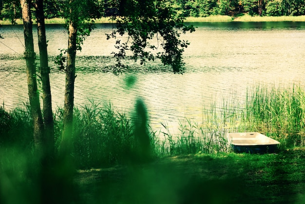 River landscape, tree, boat. pure nature background. summer concept