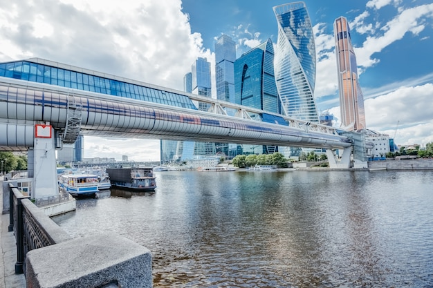 River moscow bridge bagration and skyscrapers