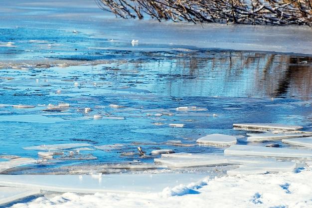 氷が溶けている間の海岸近くの川