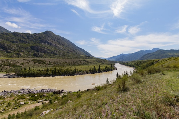 River rafting in altai mointain