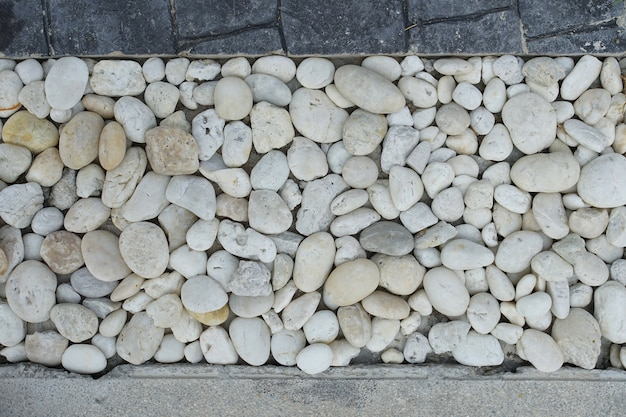 River rock decoration on house floor