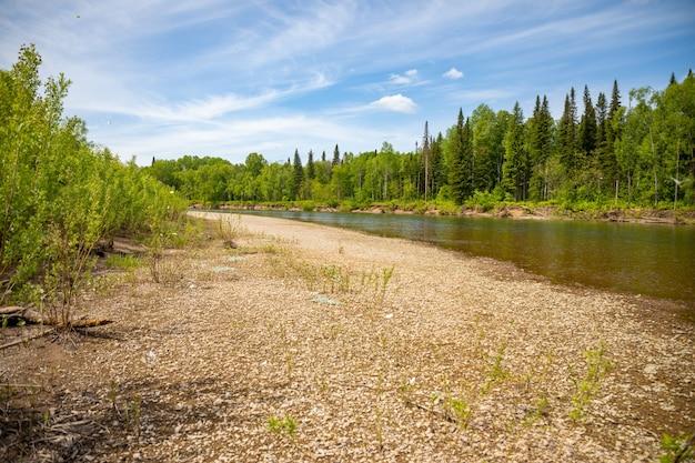 タイガの森を流れるタイドン川南シベリアロシア