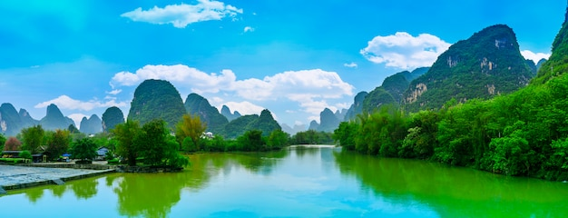River travel morning scenic asian green