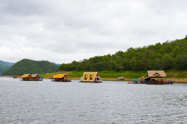 River view at the forest resort with raft house on river kwai in kanchanaburi, thailand