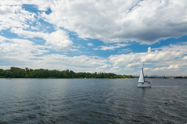 River walk on a summer day along the dnieper