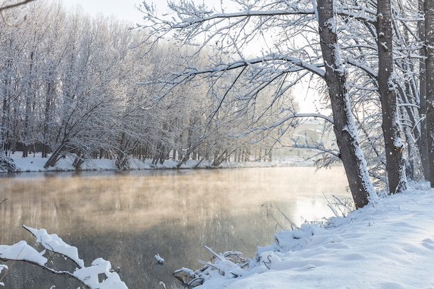 River with fog and snow