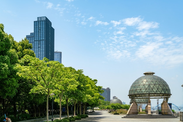 Riverside park and city skyline in hangzhou, china
