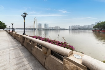 Riverside Park sidewalk in Guangzhou, China
