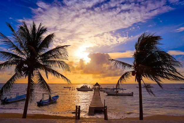 Riviera maya sunrise pier caribbean mexico