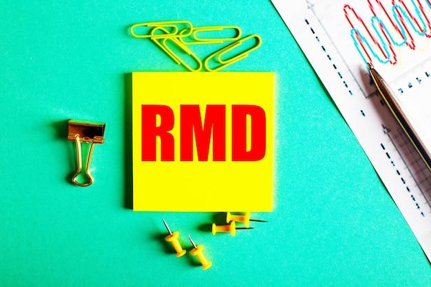 Rmd написано красным цветом на желтой наклейке на зеленой поверхности рядом с графиком и карандашом.